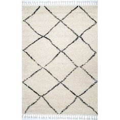 Langley Street Twinar Geometric Hand-Knotted Wool Off White/Dark Gray Area Rug & Reviews | Wayfair Moroccan Area Rug, Affordable Rugs, Rug Material, White Area Rug, White Rugs, Jessie, Colorful Rugs, Rug Size, Off White
