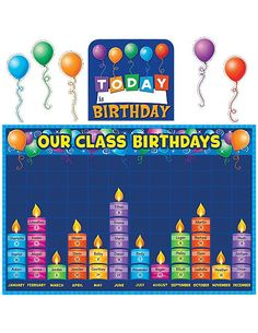 Teacher Created Resources 5335 Birthday Graph Bulletin Board: Celebrate birthdays and graph information about them. Find additional tips in the teacher's guide. Birthday Graph, Birthday Chart Classroom, 1st Birthday Signs, Birthday Bulletin Boards, Birthday Wall, Birthday Charts, Preschool Birthday Board, Birthday Display Board, Happy Birthday
