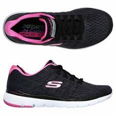 Skechers Memory Foam Flex Appeal 3 Satellites Black and Hot Pink Size UK 5 NEW #Skechers #Trainer