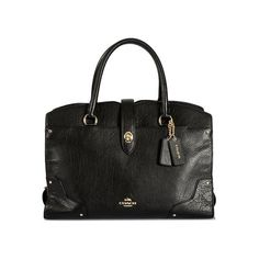 Black leather handbag Coach ($573) ❤ liked on Polyvore featuring bags, handbags, handbags & purses, real leather purses, genuine leather handbags, leather man bag and leather handbags