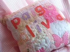Girls personalised patchwork cushion