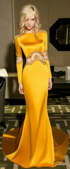 Gorgeous mustard yellow silk gown