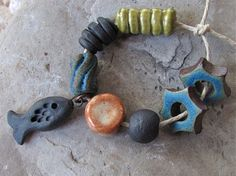Inland Sea Mix  Ceramic Bead Collection by ktotten on Etsy, $25.50