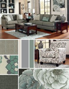 Blue and gray/silver style for the living room - yes--also like how they painted the back wall of the shelving unit. Almost, but too teal Living Room Grey, Home Living Room, Living Room Decor, Living Spaces, Br House, Family Room Decorating, Living Room Inspiration, Home Remodeling, House Design