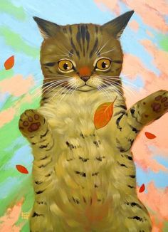 Falling Leaves by Cary Chun Lee Simple Cat Drawing, Cat Face Drawing, Cute Cat Drawing, Colorful Paintings, Animal Paintings, Black Cat Painting, Kitten Love, Autumn Art, Whimsical Art