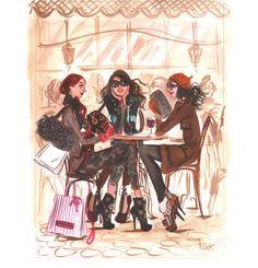 Café date with the girls. Illustration by Izak Zenou.