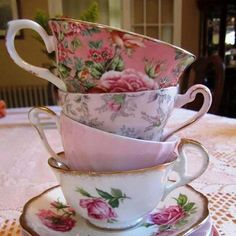 It's time for a tea party... love mixing different colours and designs of porcelain.