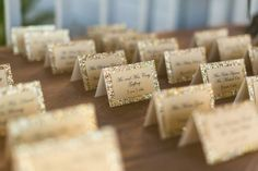 Dip those place cards into some golden flakes to add a surprising and unprecedented POP!