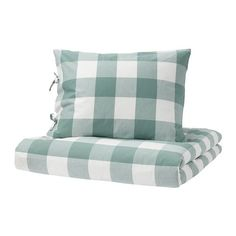 Nora (twin) EMMIE RUTA Duvet cover and pillowcase(s), green, white - green/white - Full/Queen (Double/Queen) - IKEA Green Duvet Covers, Soft Duvet Covers, Duvet Cover Sets, Duvet Bedding, Linen Bedding, Bedding Sets, Bed Linens, King Comforter, Bed Linen Australia