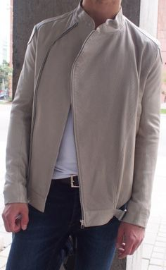 1dbebe3512 Adidas SLVR leather jacket in beige  525 from Gotstyle Menswear.