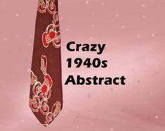 Men's 1940s Vintage Abstract Tie - 40s Necktie - Vintage Rayon Twill Neck Tie - Mens Loud Retro Tie - Crazy Abstract Tie - Men's 40s Retro by LunaJunctionVintage on Etsy