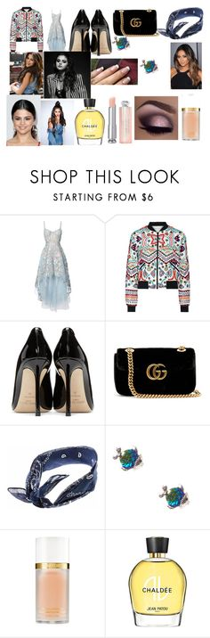 """""""Night out with Selena"""" by larryandtarillforeverr14 ❤ liked on Polyvore featuring Notte by Marchesa, Alice + Olivia, Jimmy Choo, Gucci, Tom Ford, Urban Decay and Jean Patou"""