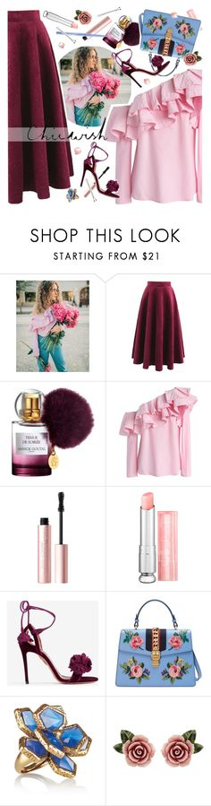 """""""Chicwish Chic"""" by ladysnape ❤ liked on Polyvore featuring Chicwish, Annick Goutal, Too Faced Cosmetics, Christian Dior, Aquazzura, Gucci, Oscar de la Renta, Dolce&Gabbana, Stila and BOBBY"""