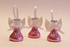 48 PINK Chocolate Candy Angels - First Communion, bridal shower, wedding, baptismal favor, set of 48 angels packed with PINK FOIL Christening Party Favors, Baptism Party, Baptism Favors, Baby Baptism, First Communion Favors, First Holy Communion, 12 Days Of Christmas, Christmas Crafts, Handmade Angels