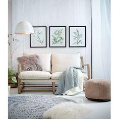 Sofa, skandinavisch, Eichenholz, Leinen Katalogbild