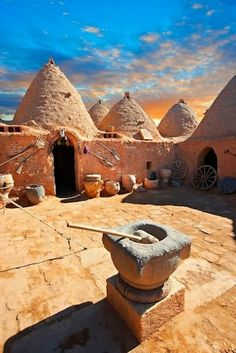 Ancient Architecture - Beehive adobe buildings of Harran, Anatolia, Turkey. Harran was a major ancient city in upper Mesopotamia whose site is near the modern village of AltınbaÅak, Turkey. by Funkystock Places To Travel, Places To See, Places Around The World, Around The Worlds, Beautiful World, Beautiful Places, Amazing Places, Architecture Antique, Architecture Art