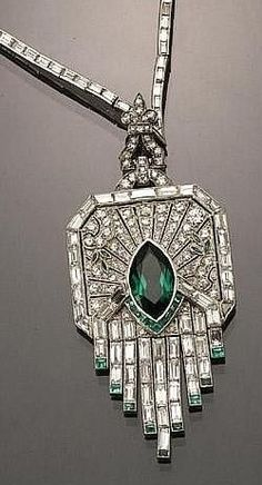 Art Deco emerald and diamond necklace--love it                                                                                                                                                                                 More