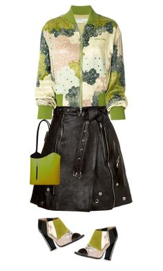 Bomber, leather, power by amisha73 on Polyvore featuring moda, Off-White, Alexander McQueen, Pollini and SHARO