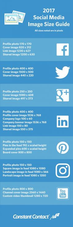 Cheat Sheet for Social Media Image Sizes 2017 #Infographics