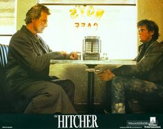 The Hitcher - Lobby card with Rutger Hauer & C. Ralph Macchio The Outsiders, The Hitcher, 1990s Movies, Rutger Hauer, Celebrity Skin, Music Film, Horror Films, 35mm Film, Dream Guy