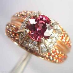 2.04ct Padparadscha Color Sapphire & Diamond Ring 14K Rose Gold