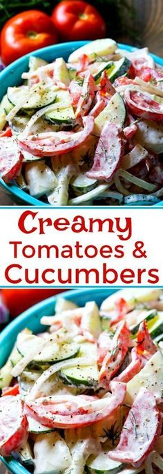 Creamy Tomato and Cucumber Salad - Tomaten Cucumber Recipes, Vegetable Recipes, Grape Tomato Recipes, Tomato Vegetable, Cooking Recipes, Healthy Recipes, Fast Recipes, Pasta, Protein Shakes