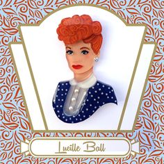Lucille Ball Vintage-Inspired Portrait Art Brooch by Tangerine Menagerie (not for sale - in private collection)