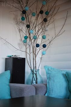 Happy Lights - www. Tree Branch Decor, Tree Branches, Cotton Ball Lights, Happy Lights, Painted Sticks, Bedroom Styles, Interior Design Inspiration, Light Decorations, Bunt