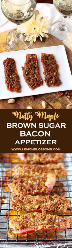 This Maple Brown Sugar Bacon Appetizer is very easy and quick to make. Sweet, savory and nutty. This mouthwatering treat is perfect for cocktail parties, game day or casual nights at home! #bacon #brownsugar #party #appetizer #gameday #tailgating #easy via @lmnblossoms