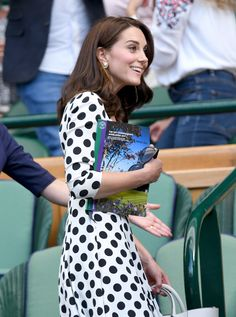 LONDON, ENGLAND - JULY 03:  Catherine, Duchess of Cambridge attends the opening day of Wimbledon 2017 on July 3, 2017 in London, England.  (Photo by Karwai Tang/WireImage) via @AOL_Lifestyle Read more: https://www.aol.com/article/entertainment/2017/07/04/kate-middleton-looks-perfect-in-polka-dots-at-wimbledon-chats-w/23015732/?a_dgi=aolshare_pinterest#fullscreen