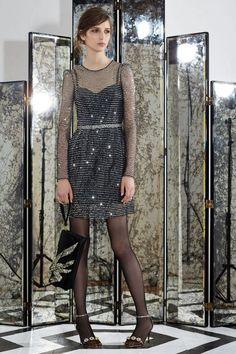 Sequin Strap L/S Dress