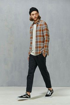 Levi's Rustic Plaid Button-Down Workshirt Look Fashion, Urban Fashion, Fashion Outfits, Fashion Ideas, Hipster Fashion, Street Fashion, Guy Fashion, Vans Outfit Men, Style Masculin
