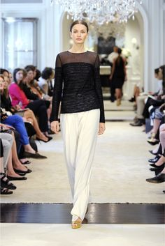 Ralph Lauren | Resort 2015 | 30 Black striped sheer long sleeve top and white trousers