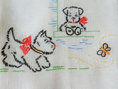 Your place to buy and sell all things handmade Guest Towels, Tea Towels, Wedding Cross Stitch Patterns, White Towels, Scottie Dog, Creamy White, Hand Embroidery, Dog Lovers, Bows