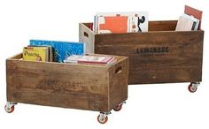 rolling storage...put under coffee table with iron legs and wooden planks