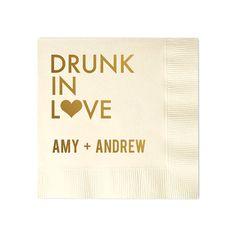 100 Personalized Napkins Personalized Napkins Bridal Shower  Wedding Napkins Custom Monogram Drunk In Love