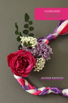 May Day flower & ribbon wristlet ╰✿╮