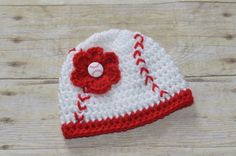 Crochet Girls Baseball Beanie Hat for Babies You Pick the Size newborn to six months or 12 inches up to 16 inches