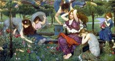 "John William Waterhouse, ""Flora and the Zephyrs"", 1898, oil on canvas"