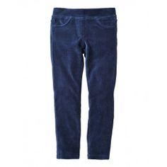 Pantaloni lunghi, in ciniglia stretch, con costa in vita.