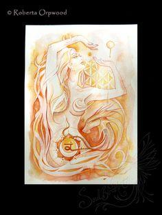 Sacral Chakra Goddess / Orange Goddess / Orange por SoulBirdArt