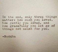 In the end, only three things matter how much you loved, how gently you lived, and how gracefully you let go of things not meant for you..- Buddha. It is time Learnt a lesson.