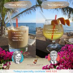 """Whether you're an American citizen or not, you might need a drink tonight... ;) Join us on this historic day and watch the US election on the big screen in our Bar & Restaurant. Our bartenders serve two special cocktails tonight; """"Nasty Woman"""" and """"Bad Hombre"""", and we have a happy hour on all drinks from 6-7pm!"""