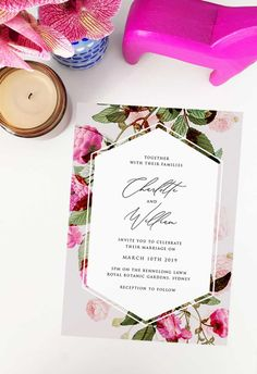 This romantic garden floral wedding invitation by Sail and Swan Studio features pink roses, green leaves ina garden setting. They are perfect for an outdoor wedding such as a garden, forest,  or woodland wedding, but also have a modern look and feel that makes them versatile across the board for any floral or botanical theme. Botanical Wedding Invitations, Floral Invitation, Pink Roses, Pink Flowers, Botanical Wedding Theme, Ina Garden, Woodland Wedding, Green Leaves, Swan