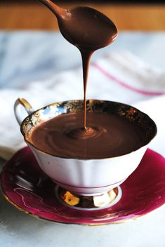 This vegan drinking chocolate is so thick, you can eat it like pudding. Perfect for dipping cookies! #dessert #recipe