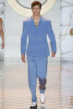Versace Spring 2015 Menswear- Love the blues of jacket & pants - Don't like the pendant or the no shirt look !