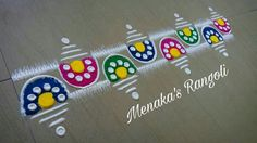 Rangoli Simple Rangoli Border Designs, Rangoli Designs Flower, Rangoli Borders, Colorful Rangoli Designs, Rangoli Ideas, Rangoli Designs Diwali, Rangoli Designs Images, Diwali Rangoli, Flower Rangoli
