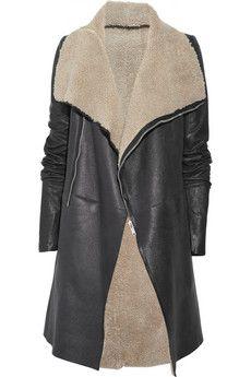 Rick Owens  Asymmetric shearling coat