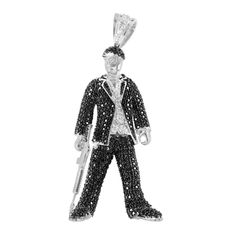 Scarface Tony Montana Pendant Black White Lab Diamond