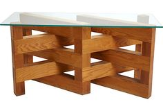 "Stacked Maple Table - Beautiful American Craft dining or console table made of solid, heavy maple. The glass top 58""L x 22""W."